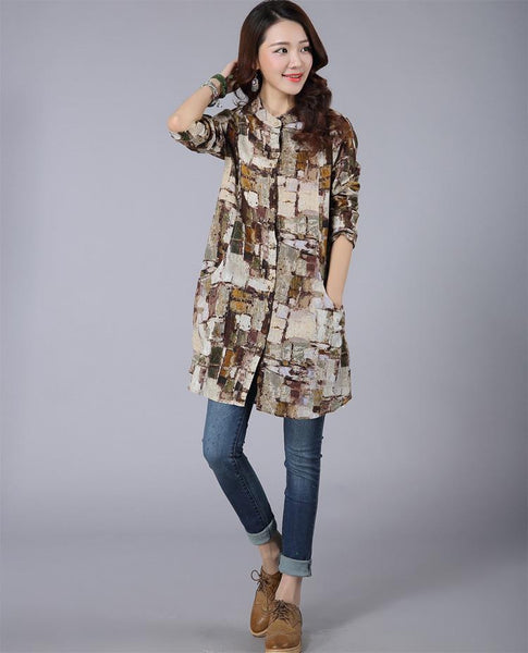Vintange Shirts Women Casual Long Sleeve Printed Cotton Shirt Women Style Tops 3 Colors