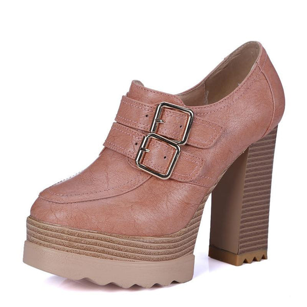 Thick High Heeled Pumps Round Toe Lacing Female Platform Shoes Casual Office Lady Shoes Square Heeled
