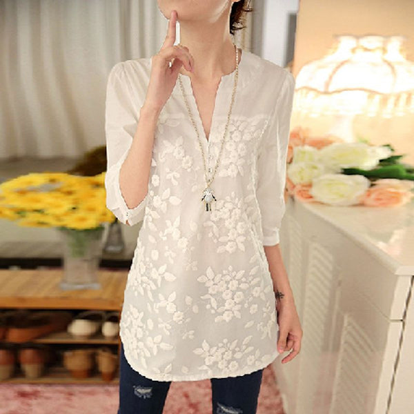 New Women Blouse Flower Print Blouse V-neck Organza Embroidered Shirt White Lace Blouse Top Plus Size 566F 25