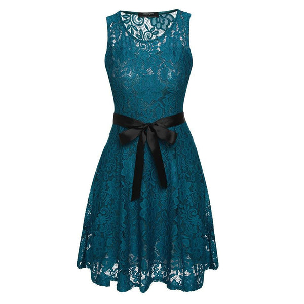 Women Sleeveless Sexy Lady Party Round Neck Dress Lace Mini Elegant dresses Famale Pleated Dress with Belt