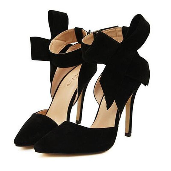 Plus Size Shoes Women Big Bow Tie Pumps Butterfly Pointed Shoes Women High Heels Wedding Shoes advisable