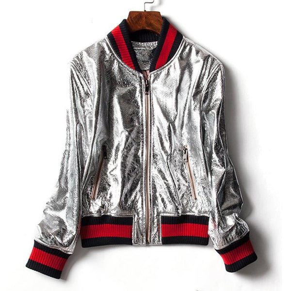 Women Long Sleeve Golden Silver Bright Bomber Jacket Casual Coat Slim Bomber Jacket Thin Basic Girl Outwear