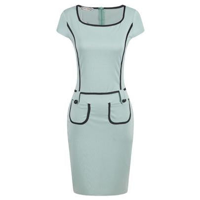 Plus Size Summer Style Women Ladies Office bodycon Dress Loose Long Pencil Pockets Work Dresses Vestidos Sheath S114