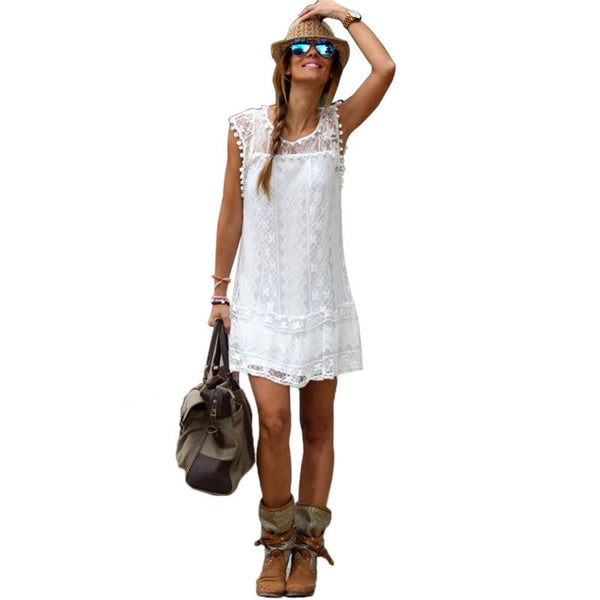 Online discount shop Australia - Fashion Summer Dress Casual Solid Sleeveless O-Neck Plus Size Loose Beach Lace Party Women Dresses New Sexy Mini Vestidos