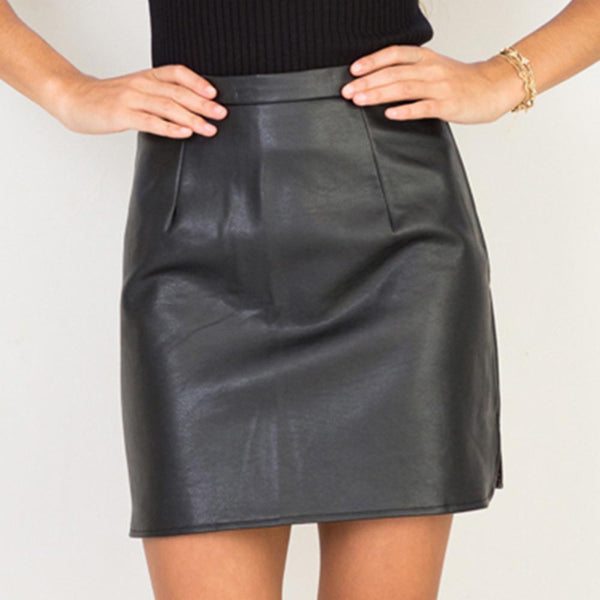 PU Leather Skirts High Waist Sexy Vintage A-Line Office Skirts Womens Solid Mini Bodycon Skirt Plus Size