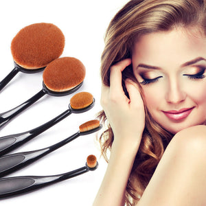 Online discount shop Australia - Black Makeup Brushes Oval Make Up Brushes 5 Pieces Professional Oval Brush Set Face Powder Cosmetic Makeup Brush Tools #84259