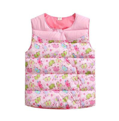 High Quality Children's Jackets Sweet Floral Down Cotton Warm Girls Vest Kids Waistcoat Baby Girl Clothes 2-7pinka