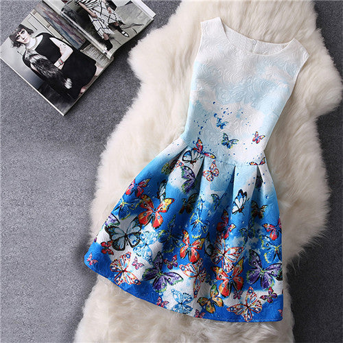 Online discount shop Australia - Cartoon Castle Sleeveless Girls Print Dress Knee Length Princess A-Line Dress Clothes For Kids 6 to 12 years Old Kids