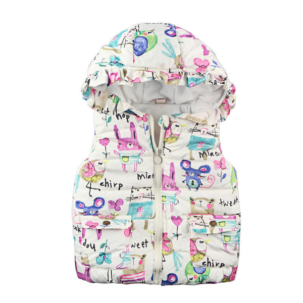 Online discount shop Australia - Children Clothing Outerwear & Coats Animal Graffiti Thick Princess Girls Vest Hooded Kids Jackets Baby Girl Warm Waistcoat