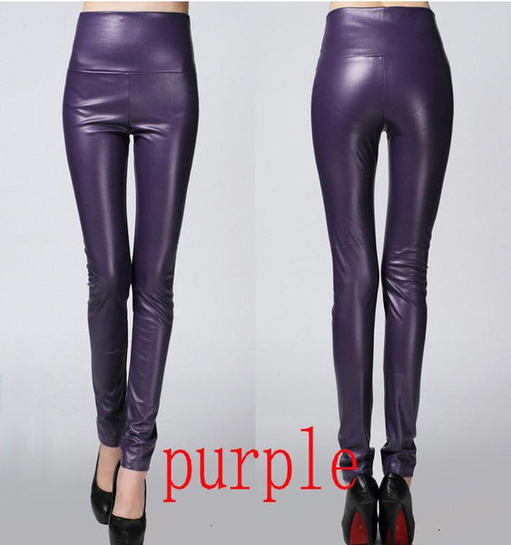 Thicken Winter PU Leather women pants high waist elastic fleece stretch Slim woman pencil pants skinny trousers 25 colors