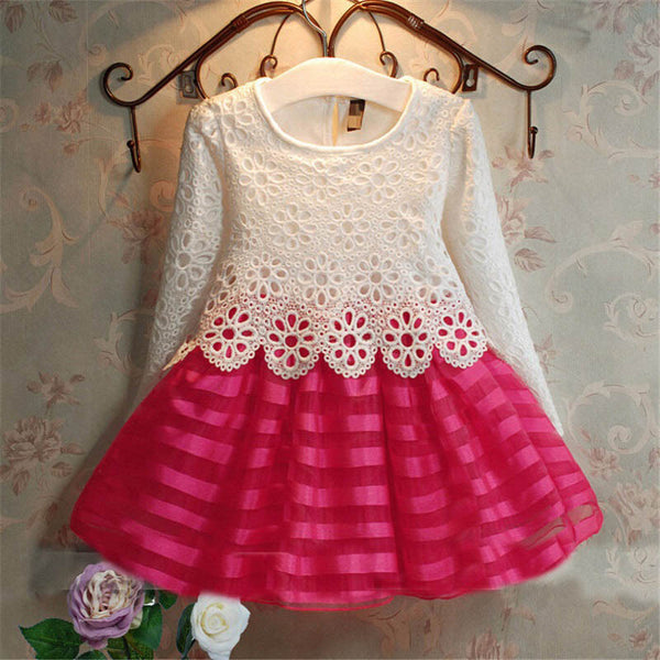 Online discount shop Australia - Dresses Kids Party For Girl Dress Children Girls Clothes 2-6Y Long Sleeve Crochet Lace Tutu Princess Vetement Fille