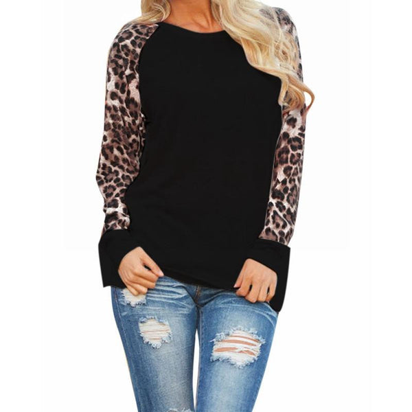 Online discount shop Australia - Fashion Women Casual Shirts Tops Long Sleeve Leopard Chiffon Patchwork Blouses