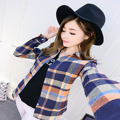 Online discount shop Australia - Fashion Plus Size Ladies Long Sleeve Casual Cotton Slim Plaid Shirt Women Tops Blouse Clothing Outerwear