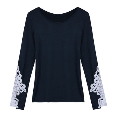 Online discount shop Australia - Fashion Women Bodycon Lace Crochet Long Sleeve Blouses Brand New Casual O Neck Shirts Tops Plus Size S-6XL
