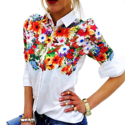 Online discount shop Australia - Floral Butterfly Printed Women Chiffon Blouses White Shirts Casual Office OL  Women Tops
