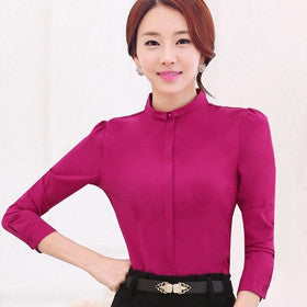 Online discount shop Australia - Blouse Shirt Women New Fashion Long Sleeve Ladies Office Shirts Work Wear Plus Size Women Clothing For Tops