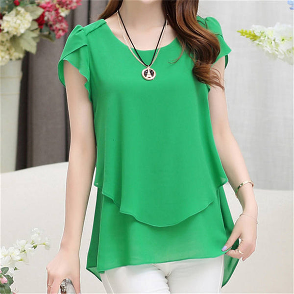 New Women Short Sleeve Chiffon Blouse 5XL Plus Size Women Clothing Vintage Female Tops And Blouses