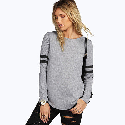 Online discount shop Australia - Casual T shirt O-Neck Long Sleeve T shirt Women Striped Splice Women Tops Fashion Tees Ropa