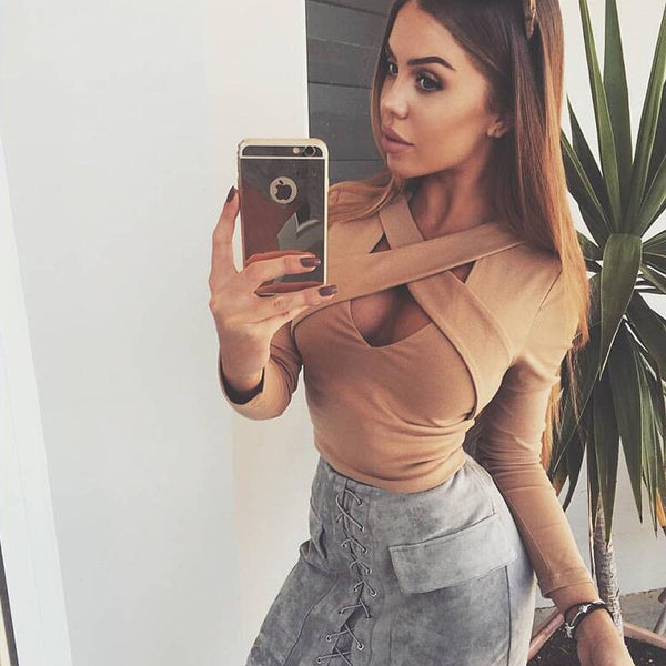 Online discount shop Australia - Khaki White Black Long Sleeve Criss Cross Short  Women Skinny Elastic Sexy Party Club Crop Tops