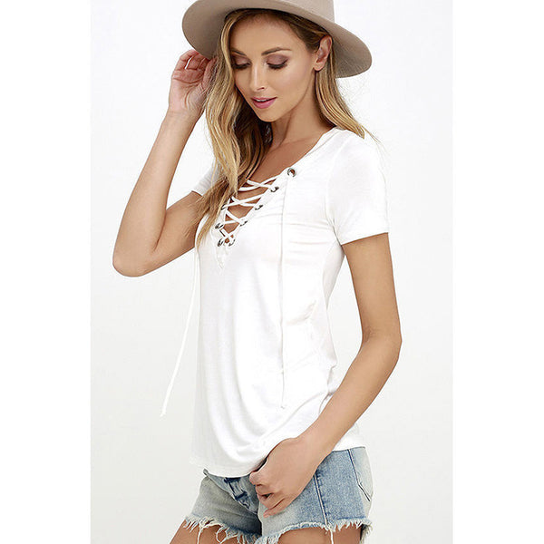 Online discount shop Australia - European Fashion Lace Up T Shirt Women Sexy V Neck Hollow Out Top Casual Basic Female T-shirt Plus Size