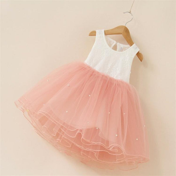 New flower girl party dress baby birthday tutu dresses for girls lace baby vest baptism dresses pearls kids wedding dress