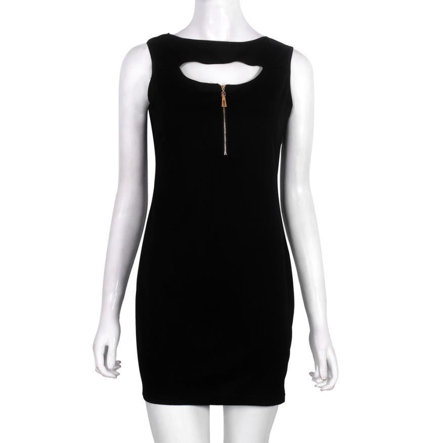 Summer Dress Womens Sexy Dresses Party Night Club Dress Zipper Closed Chest