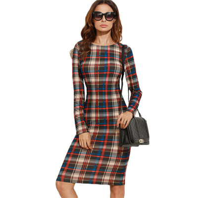 Online discount shop Australia - Elegant Bodycon Dress Winter Autumn Dress Fall Multicolor Plaid Long Sleeve Knee Length Pencil Dress