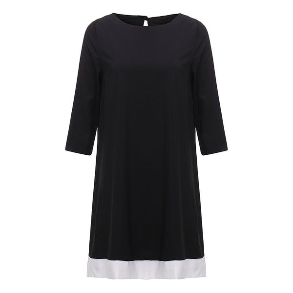 New Women Dress Three Quarter Sleeve Patchwork Mini Dress Casual O Neck Back Hollow Out Button A Line Autumn Vestidos