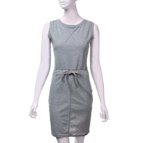 Women Ladies Pencil Dress Casual O Neck Sleeveless Slim Empire Vest Dress Plus Size S-4XL