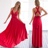 ZKY Summer Sexy Women Maxi Dress Red Beach Long Dress Multiway Bridesmaids Convertible Wrap Dresses Robe Longue Femme
