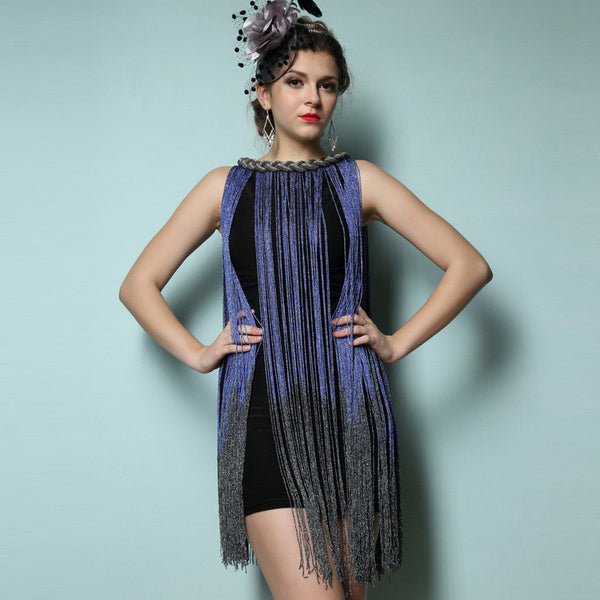 Online discount shop Australia - Draping Costume Metal Halter-neck Gradient Tassel Dresses Women Clothing 1920s Flapper Swing Fringe Mini Vestido