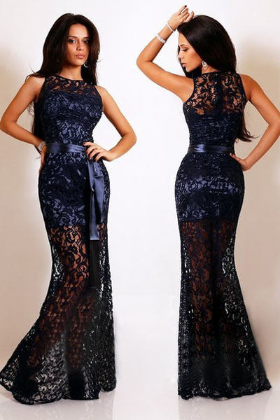 party evening Navy Lace Satin Patchwork Maxi Dress autumn dress