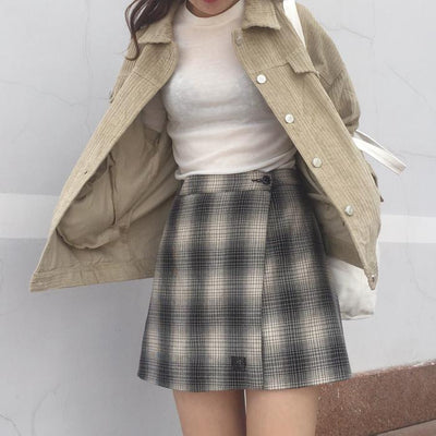 Short Design College Wind Loose Causal Solid Corduroy Long Sleeve Female Jackets
