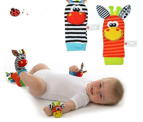 New Infant Baby Kids Sock And Wrist Rattles Cute Intellectual Developmental Toys Animal 4Pcs(2Pcs Socks+2Pcs Wrists)4PCS style Aa