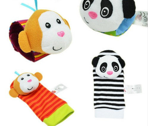 New Infant Baby Kids Sock And Wrist Rattles Cute Intellectual Developmental Toys Animal 4Pcs(2Pcs Socks+2Pcs Wrists)4PCS style Ca