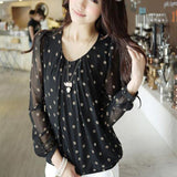 Sexy cute Women  white Polka Dot Print black Blouses Puff Long Sleeve O-neck Chiffon Shirt Plus Size XXXL CB59