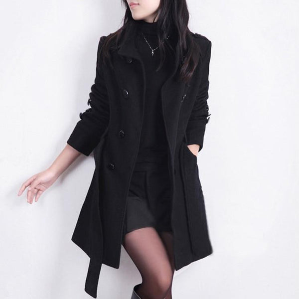 5bc964483c45 Women Trench Woolen Coat Slim Double Breasted Overcoat Coats Long Outerwear  for Women QB323
