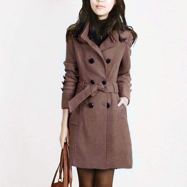 Women Trench Woolen Coat Slim Double Breasted Overcoat  Coats Long Outerwear for Women QB323