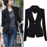 Women Blazer Jacket Suit Casual Black Coat Jacket Single Button Outerwear Woman Blaser Female