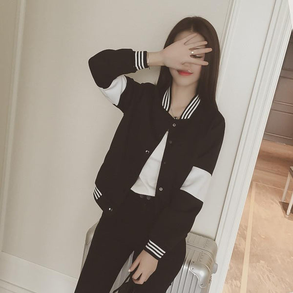 style black and white color block casual baseball shirt short jacket female Covered button women coat cardigan