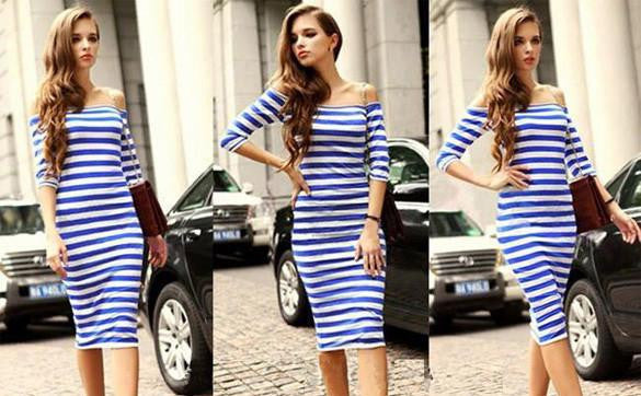 5ae3ad12f1a1 Women Autumn Sexy Dress Off Shoulder Summer Vestidos Casual Party Bodycon  Ukraine Dresses Cotton Striped Wrap