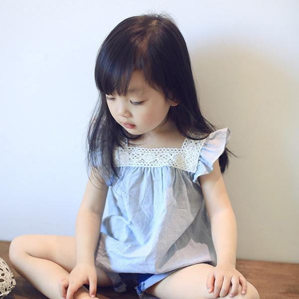 Toddler Baby Girls Casual T-Shirts Lace Splicing Shirt Cotton Soft Blouse TopsBluea