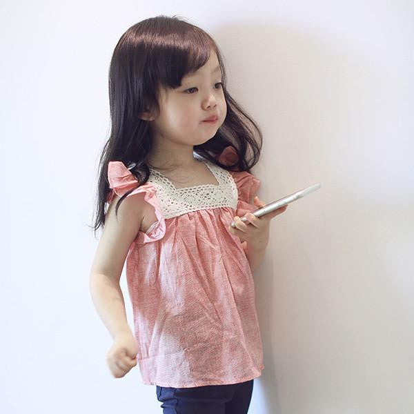 Summer Toddler Baby Girls Casual T-Shirts Lace Splicing Shirt Cotton Soft Blouse TopsPinka