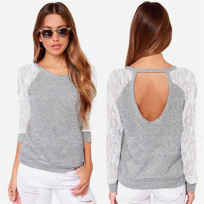 Woman shirt Women Lace Long Sleeve T Shirt O Neck Sexy Back Hollow Patchwork Shirts Tee Tops