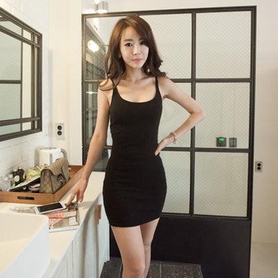 Slim Lady Sexy Solid Bodycon Cotton Spaghetti Strap Dress Base Club Mini Dress