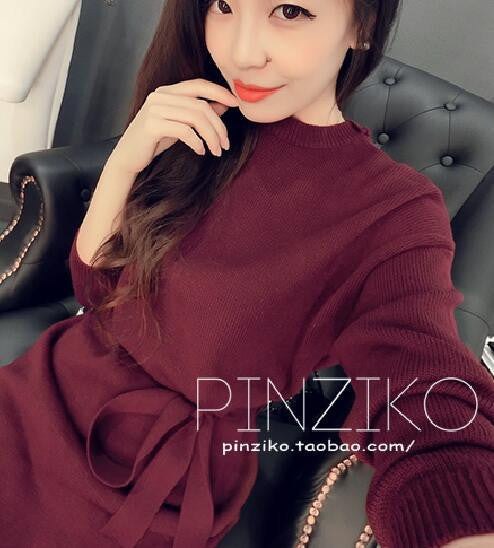 Online discount shop Australia - Korean Women New Measuring Waist Tie Down Knit Primer Sweater Dress