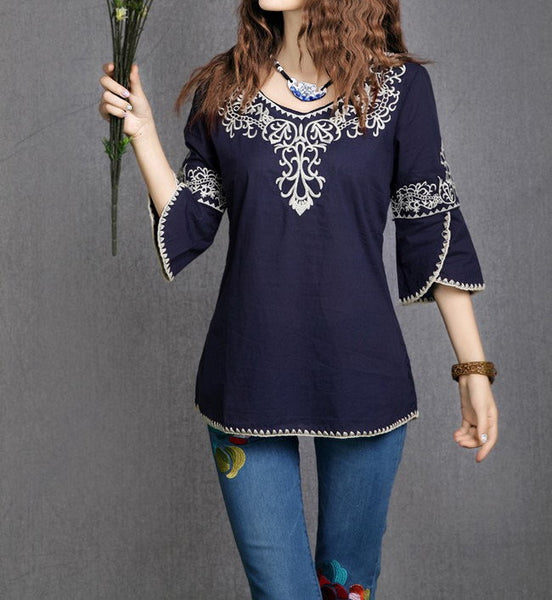 New Fashion Women Girls Pattern Totem Vintage  Cotto Embroidery  Casual Shirts Tops