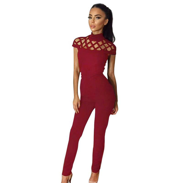 Womens Choker High Neck Caged Sleeve Playsuits Long Rompers Women Jumpsuits women's bodysuits #25