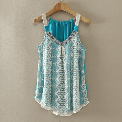 Women Tank top Sexy lace tops Crochet tassel shirt woman Vest lace Peacock Stripe Vest