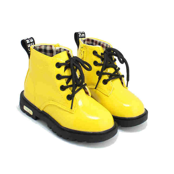 New Children Shoes PU Leather Waterproof Martin Boots Kids Snow Boots Brand Girls Boys Rubber Boots Fashion Sneakers
